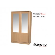 ตู้เสื้อผ้าบานเลื่อนกระจกคู่กว้าง1.20เมตร รหัสW-1202-SL