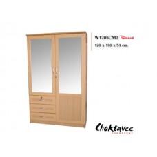 ตู้เสื้อผ้าบานเปิดกระจกคู่3ลิ้นชัก รหัสW-1205-CM2
