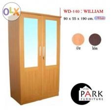 ตู้เสื้อผ้า90cm.บานกระจกคู่ รุ่นWilliam
